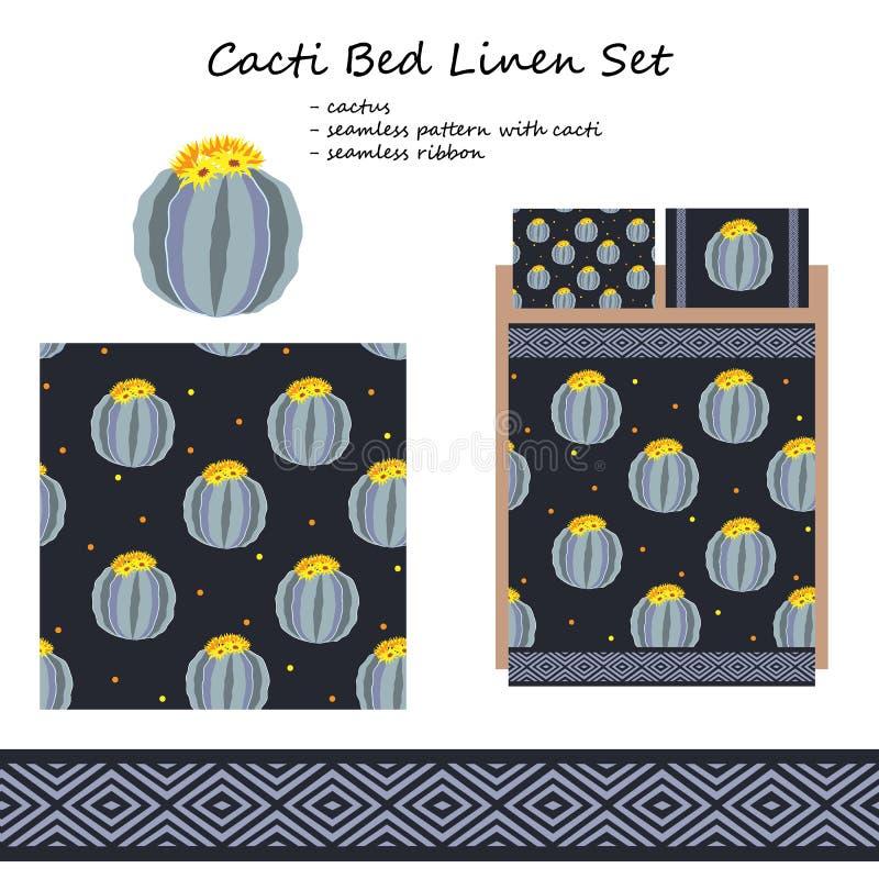 Leinen- und Bettwäschevektor entwerfen mit netten Kakteen Daunendecke und zweites Kissen sind nahtlos und konnten als Textildruck stock abbildung