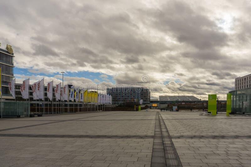 LEINFELDEN-ECHTERDINGEN, GERMANIA - GENNAIO 27,2019: Il sito di mostra questa grande area è vicino all'aeroporto fotografia stock libera da diritti