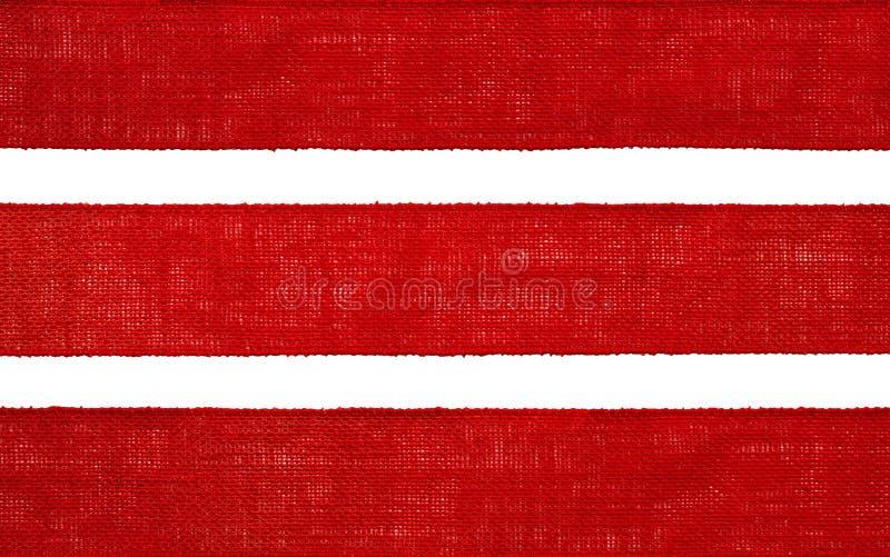 Leinwand-Gewebe-Band-Beschaffenheit, Sack-Stoff-Rand, rotes grobes Sackzeug lizenzfreie stockfotos