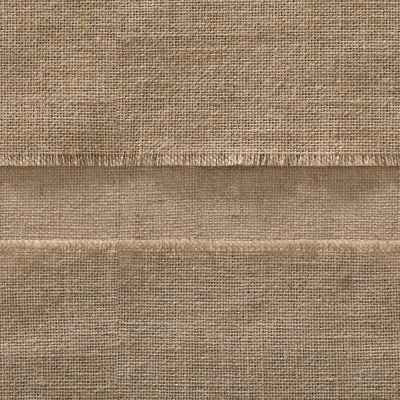 Leinwand-nahtloser Gewebe-Rand-Hintergrund, Streifen-Sack-Stoff-Rahmen stockfoto
