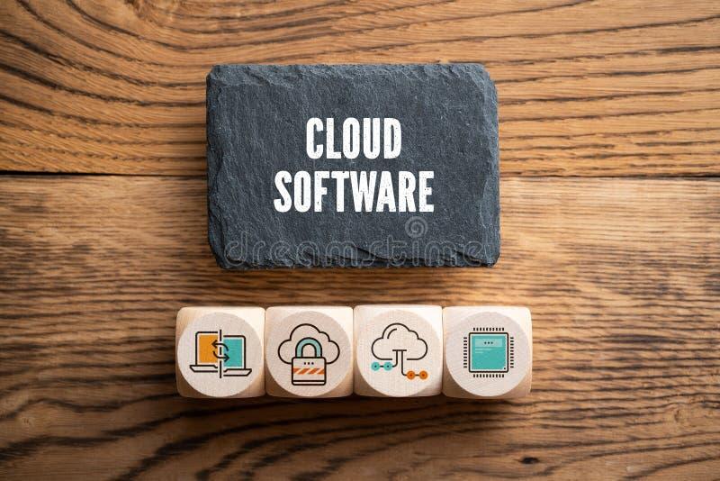 Leiplaat met bericht 'wolkensoftware 'en kubussen met verwante pictogrammen royalty-vrije stock foto