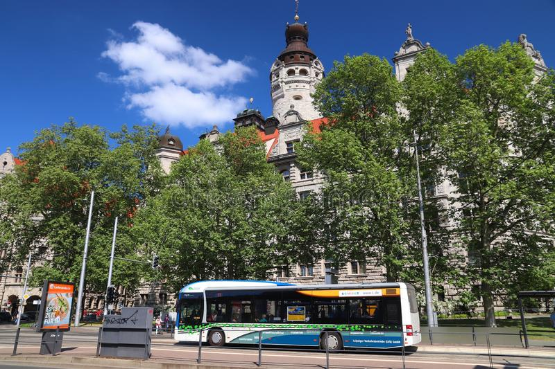 Leipzig city bus. LEIPZIG, GERMANY - MAY 9, 2018: People ride a city bus in Leipzig, Germany. Leipzig is the 10th biggest city in Germany with 582,277 royalty free stock photo