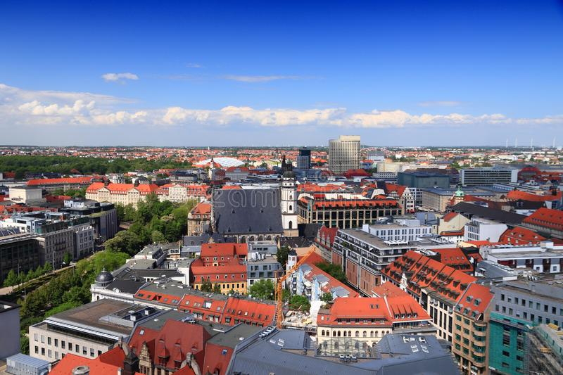 Leipzig city, Germany. Aerial view. Cityscape with Zentrum district stock image