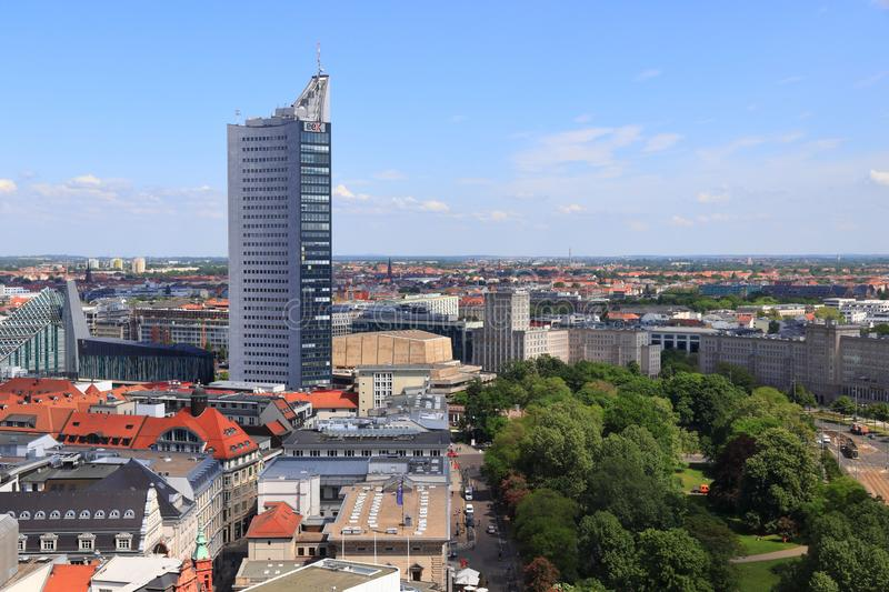 Leipzig city, Germany. LEIPZIG, GERMANY - MAY 9, 2018: City-Hochhaus skyscraper in Leipzig. The building is owned by Merrill Lynch. Its tenants are MDR and stock photos