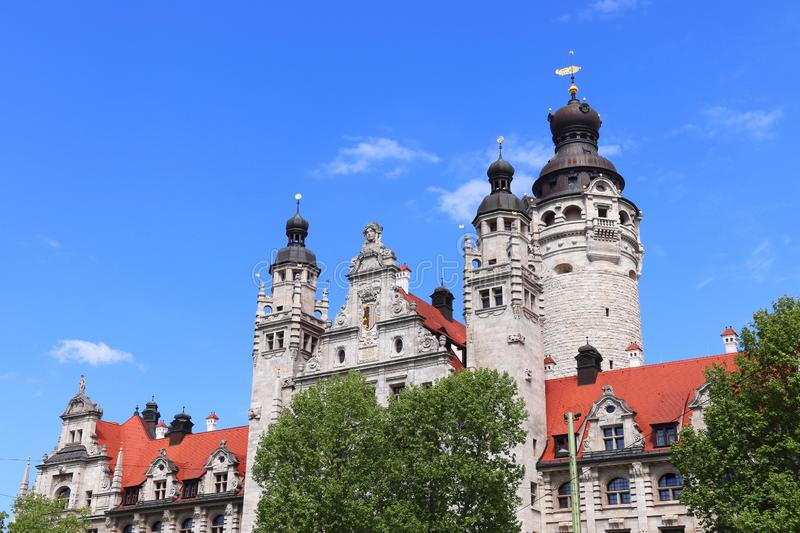 Leipzig city. Germany. New City Hall (Neues Rathaus) built in historicism architecture style stock photos