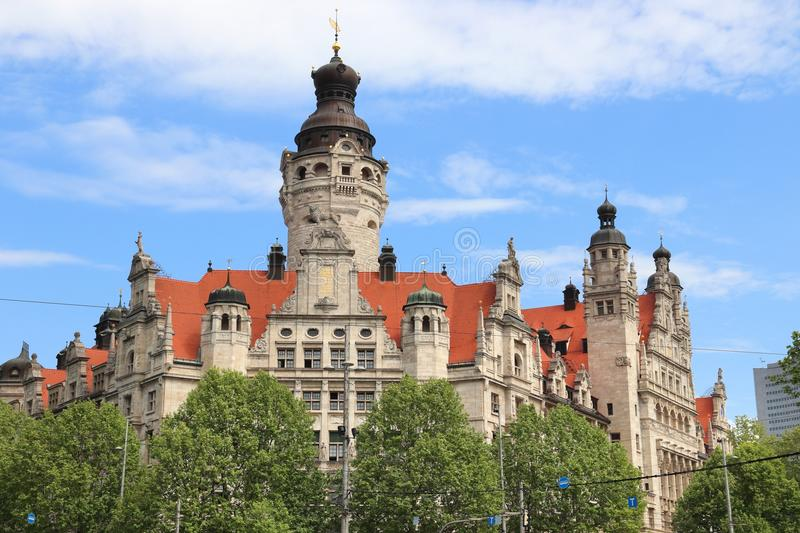 Leipzig Town Hall. Leipzig city in Germany (State of Sachsen). New City Hall (Neues Rathaus) built in historicism architecture style stock photos