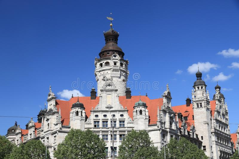 Leipzig City Hall. Germany landmark - Leipzig city. New City Hall (Neues Rathaus) built in historicism architecture style stock images