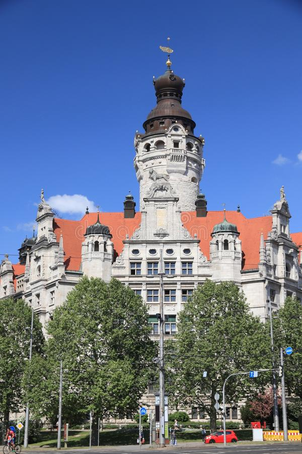 Leipzig City Hall. Leipzig city, Germany. New City Hall (Neues Rathaus) built in historicism architecture style stock image