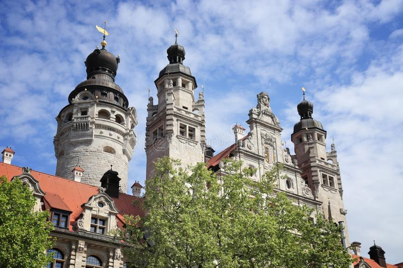 Leipzig City Hall. Leipzig city in Germany (State of Sachsen). New City Hall (Neues Rathaus) built in historicism architecture style royalty free stock photography