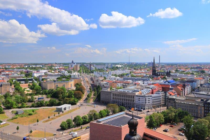 Leipzig cityscape, Tyskland arkivbilder