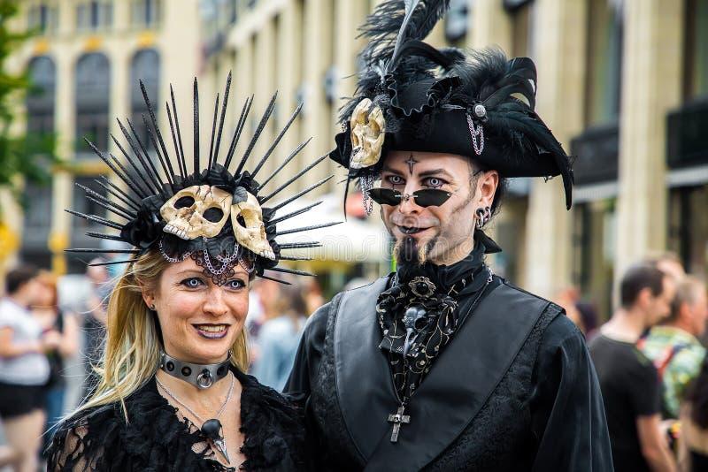 Leipzig gótico e festival do steampank no verão 2019 fotos de stock