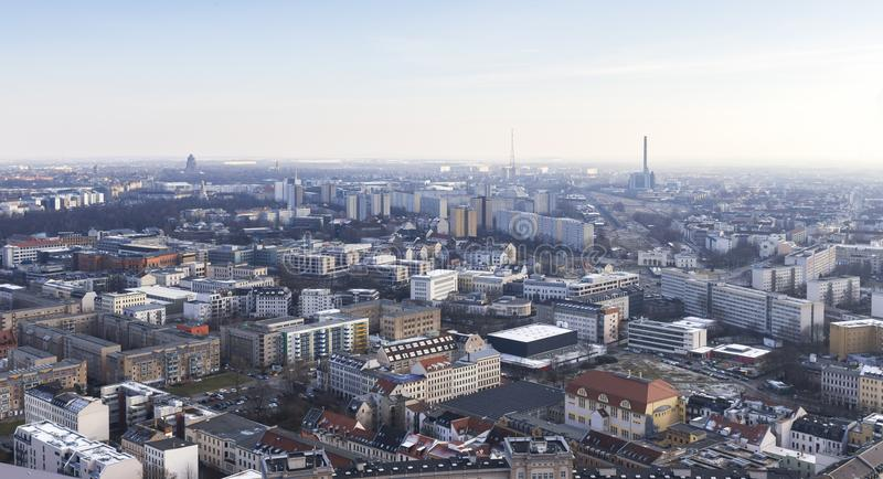 Leipzig germany from above. In the winter stock image