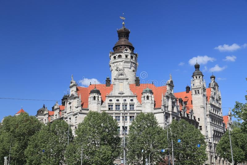 Leipzig. Germany landmark - Leipzig city. New City Hall (Neues Rathaus) built in historicism architecture style royalty free stock photos