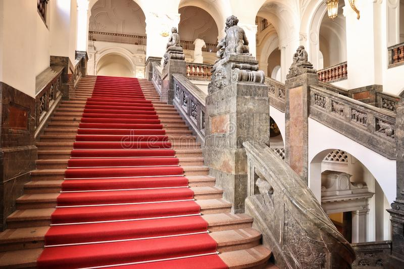 Leipzig Town Hall. LEIPZIG, GERMANY - MAY 9, 2018: Interior of the New Town Hall (Neues Rathaus) in Leipzig, Germany. The building was completed in 1905 and royalty free stock images