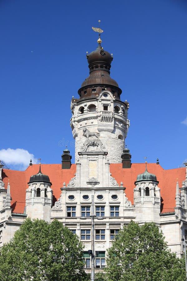 Leipzig landmark, Germany. Leipzig landmarks, Germany. New City Hall (Neues Rathaus) built in historicism architecture style stock photo