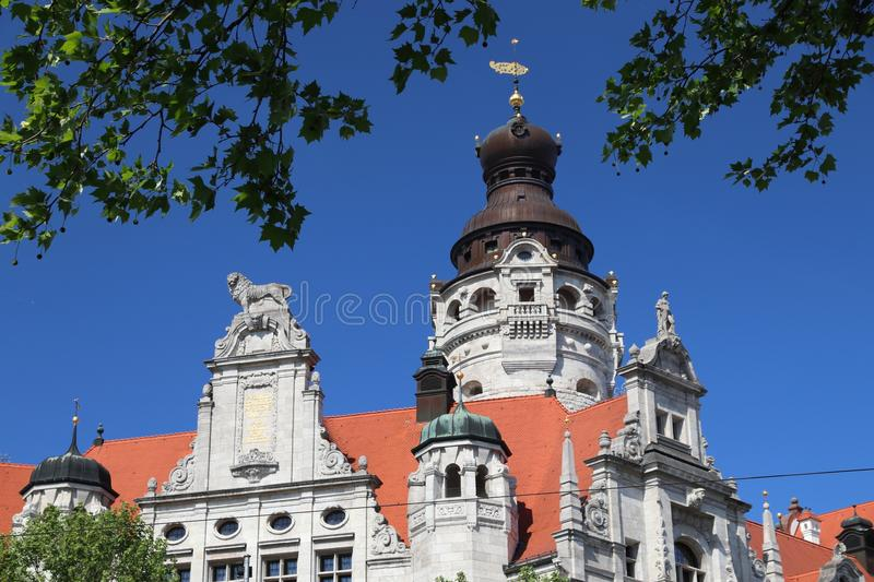 Leipzig. City, Germany. New City Hall (Neues Rathaus) built in historicism architecture style stock photo