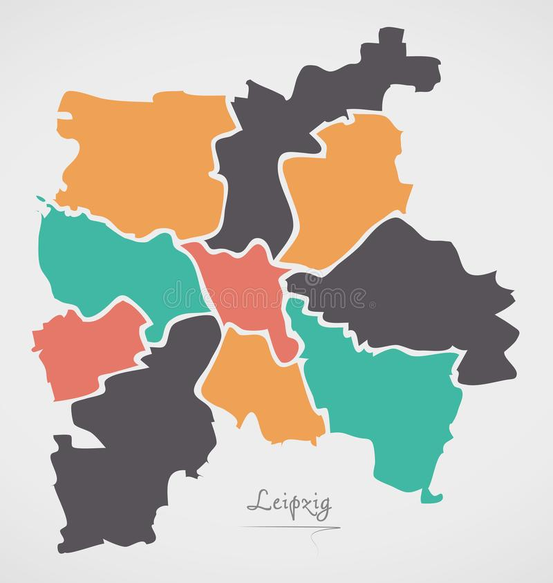 Leipzig Map with boroughs and modern round shapes. Illustration vector illustration