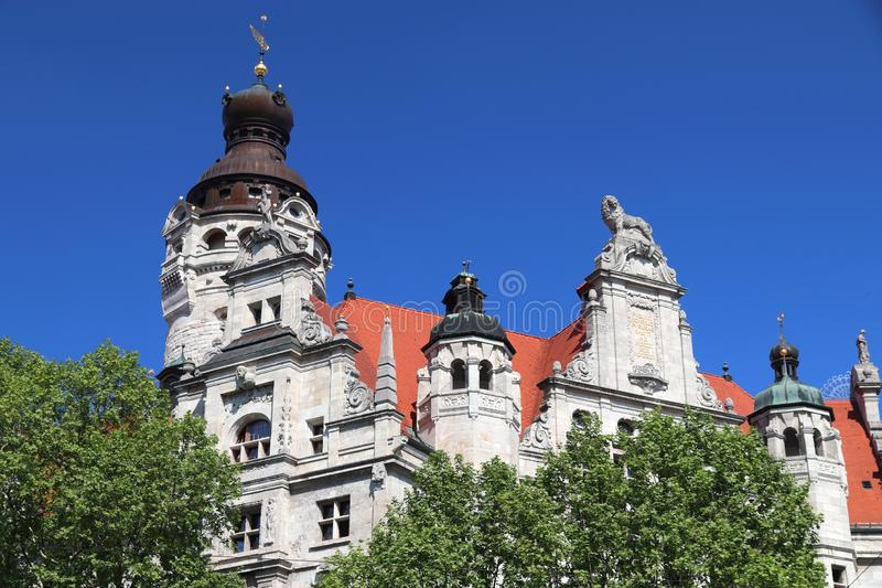 Leipzig Rathaus. Leipzig city, Germany. New City Hall (Neues Rathaus) built in historicism architecture style royalty free stock photos