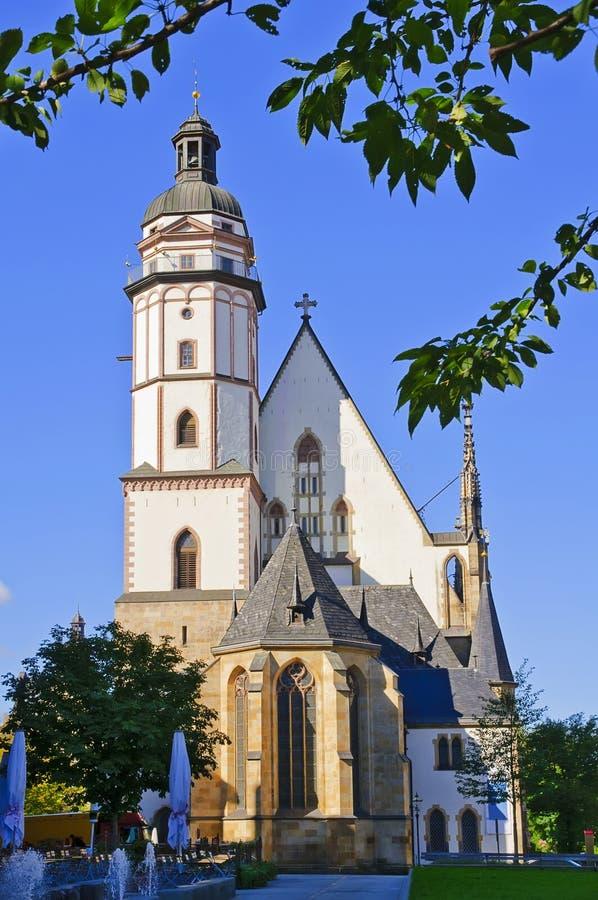 leipzig thomaskirche royaltyfria bilder