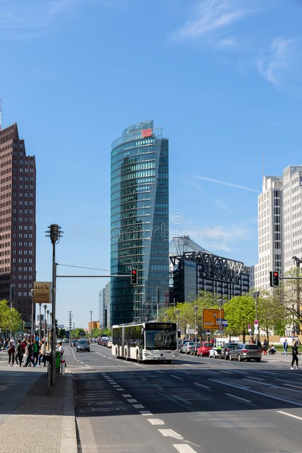 Leipziger Strasse on the modern highrise at Potsdamer Platz Berlin royalty free stock photos