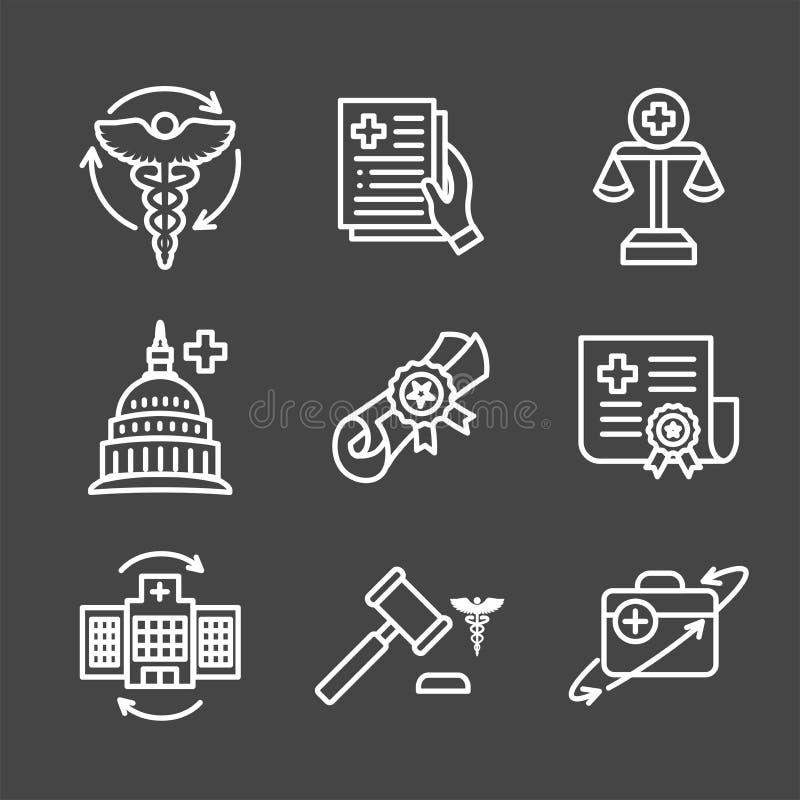 Leis da saúde e grupo legal do ícone que descrevem vários aspectos do sistema legal ilustração do vetor