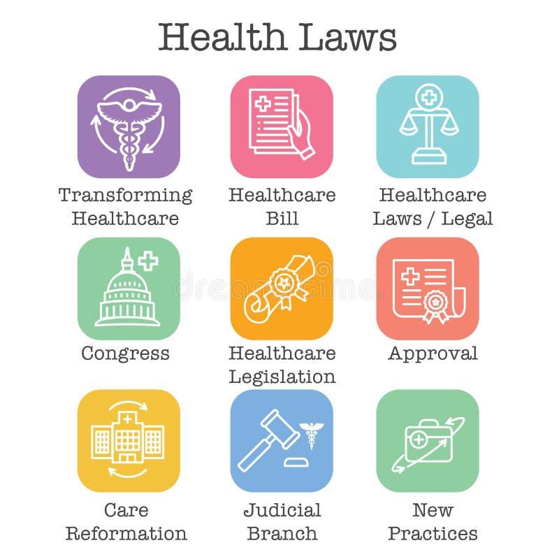 Leis da saúde e grupo legal do ícone que descrevem vários aspectos do sistema legal ilustração royalty free