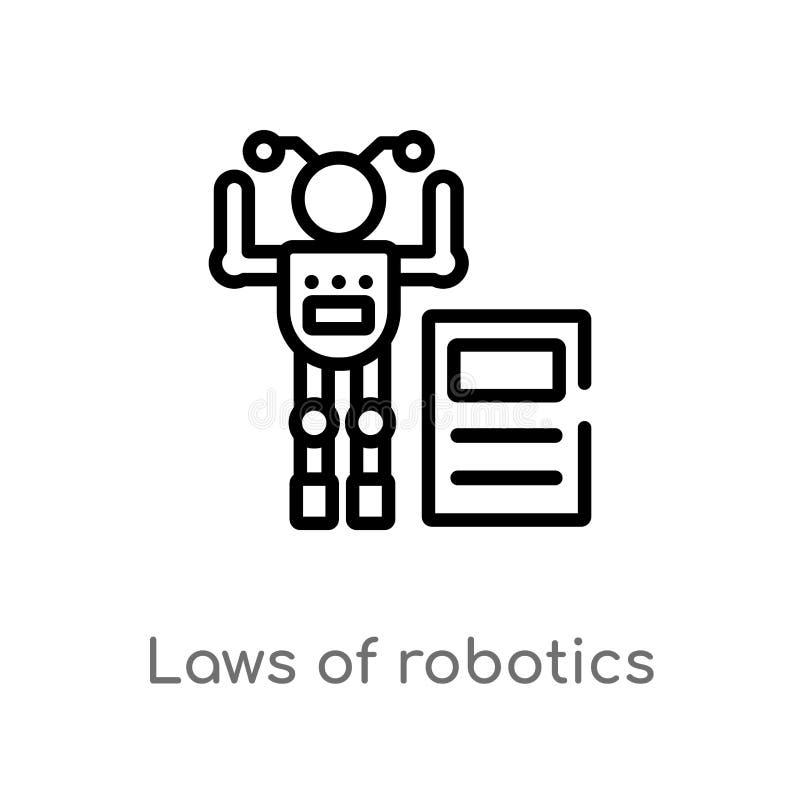 leis do esboço do ícone do vetor da robótica linha simples preta isolada ilustra??o do elemento do conceito artificial do intelle ilustração royalty free