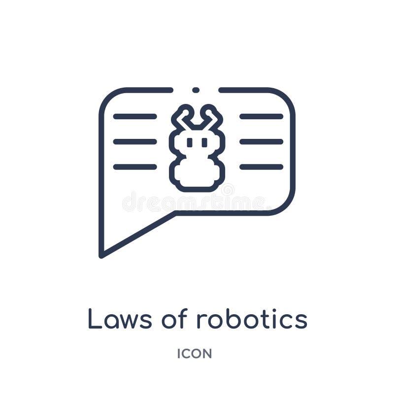 Leis lineares do ícone da robótica do intellegence artificial e da coleção futura do esboço da tecnologia Linha fina leis de robó ilustração stock