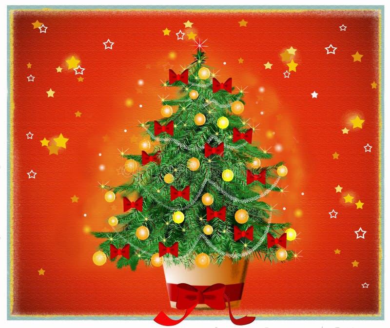 Leise Nacht mit Weihnachtsbaum lizenzfreie abbildung