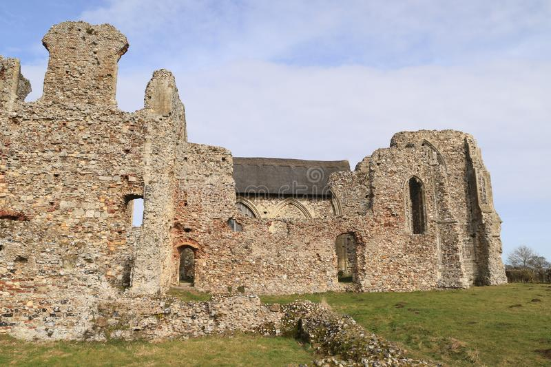 Ruins of Leiston Abbey with church. Leiston Abbey in Suffolk, England, was a religious house of Augustinian Canons Regular following the Premonstratensian rule stock image
