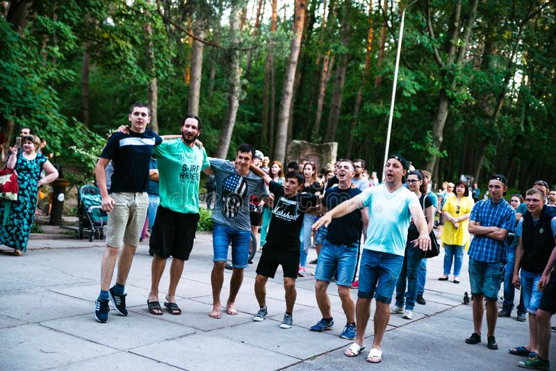 Leistung des ` Rockgruppe ` Chumatsky Shlyakh am 10. Juni 2017 in Cherkassy, Ukraine stockfoto