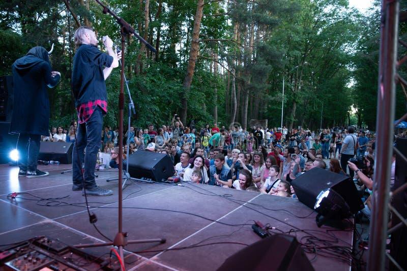 Leistung des ` Rockgruppe ` Chumatsky Shlyakh am 10. Juni 2017 in Cherkassy, Ukraine lizenzfreie stockfotografie