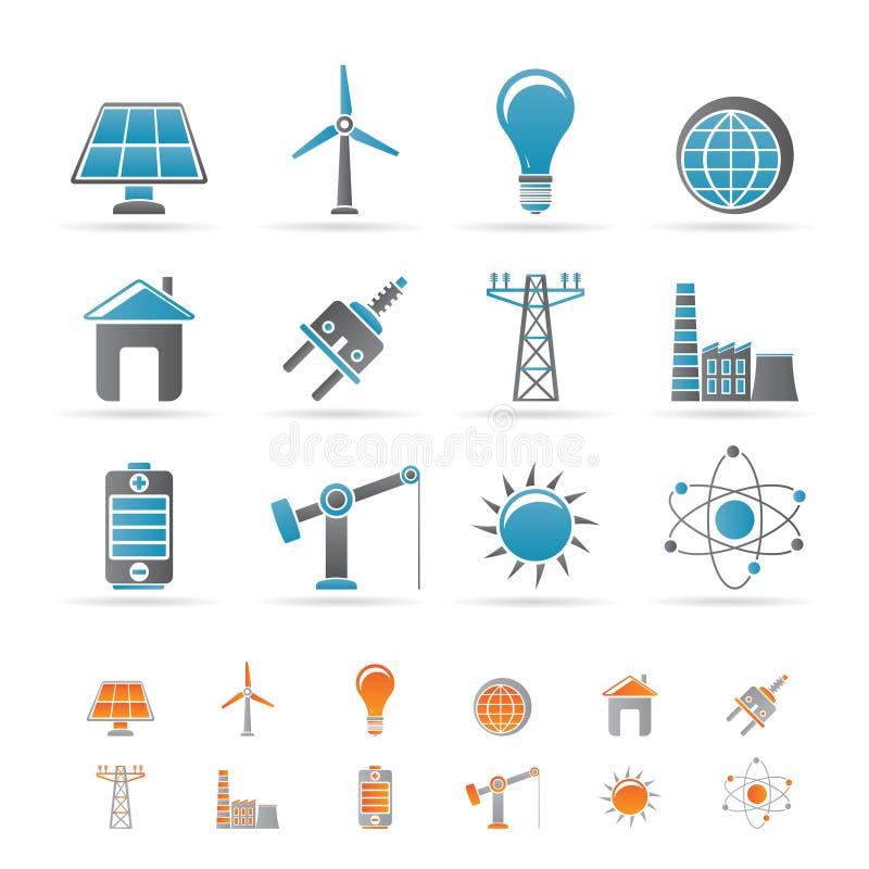 Leistung-, Energie- und Elektrizitätsikonen lizenzfreie abbildung