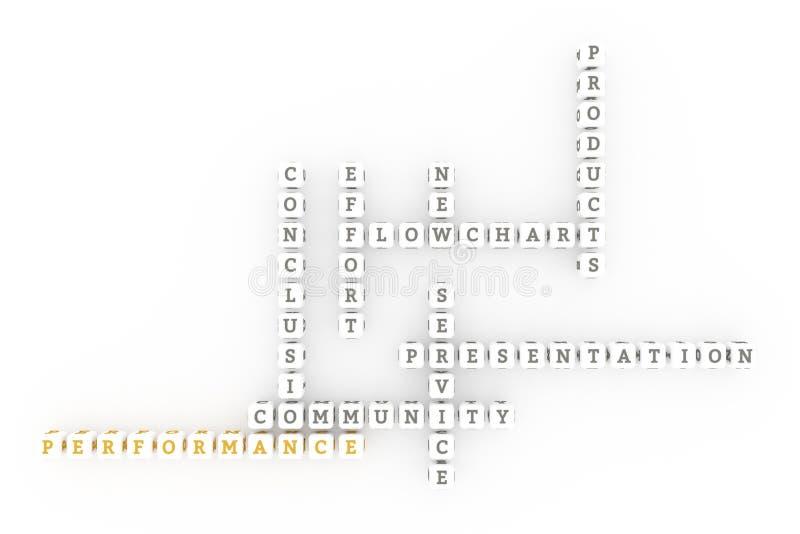 Leistung, Geschäftsschlüsselwortkreuzworträtsel F?r Webseite, Grafikdesign, Beschaffenheit oder Hintergrund stockfotos