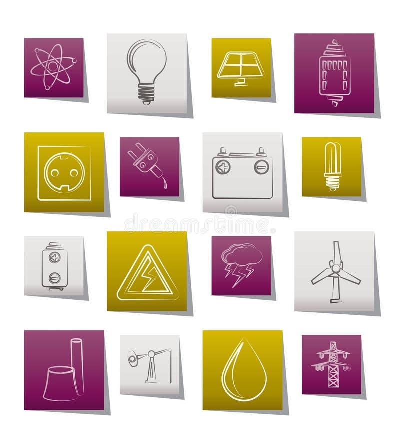 Leistung- und Elektrizitätsindustrieikonen stock abbildung