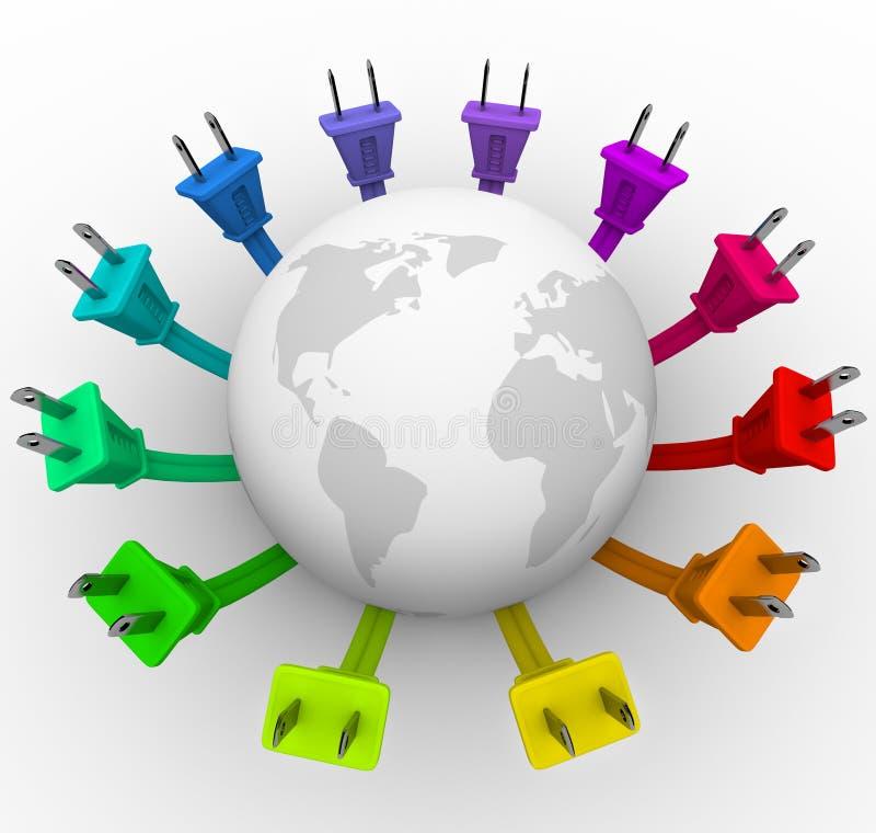 Leistung - Welt umgeben von Plugs lizenzfreie abbildung