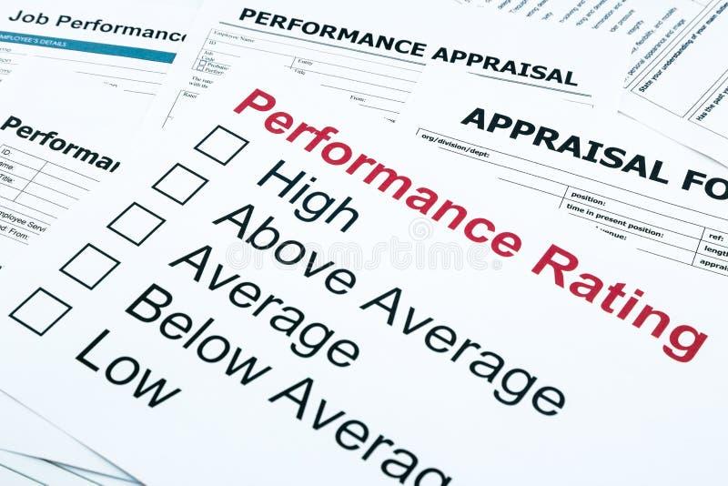 Leistungsbeurteilung und Bewertungsform lizenzfreie stockfotos