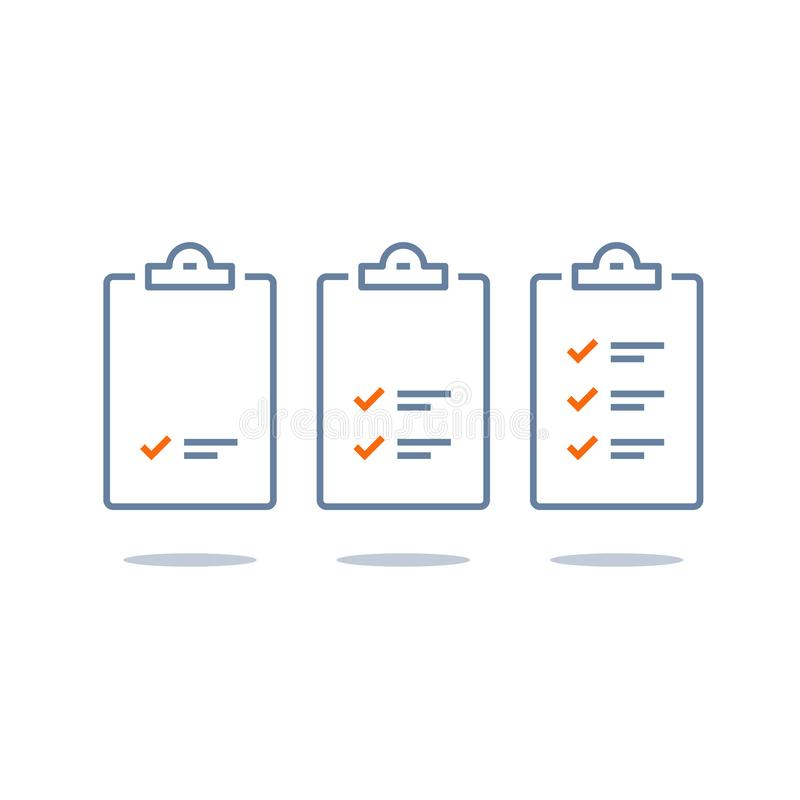 Leistungsfähige Arbeit, Projektplan, Taskverwaltungscheck-liste, schneller Fortschritt, Niveau herauf Konzept, kurzer Fragebogen, lizenzfreie abbildung