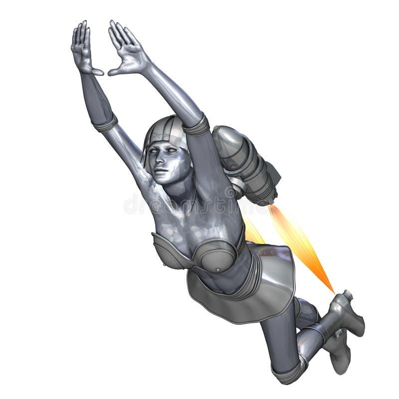 Leistungsfähige silberne Heldin rettet die Welt vektor abbildung