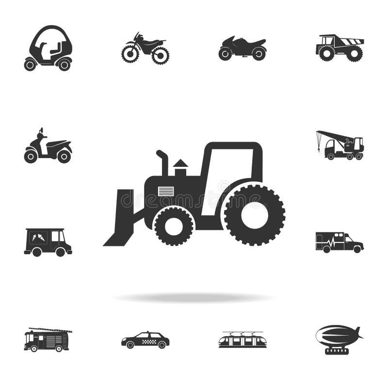 Leistungsfähiger Traktor, Sortierer mit Eimerikone Ausführlicher Satz Transportikonen Erstklassiges Qualitätsgrafikdesign Ein der lizenzfreie abbildung