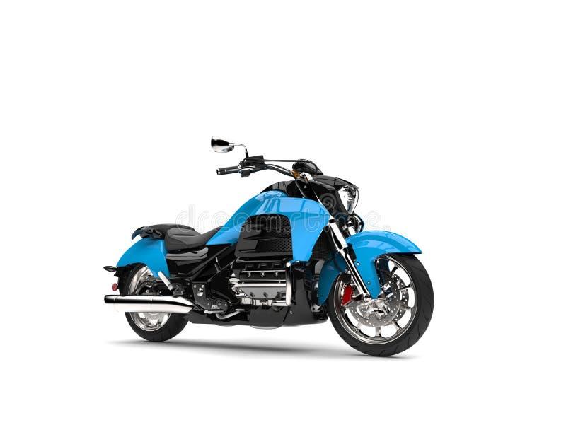 Leistungsfähiges modernes blaues Zerhackermotorrad lizenzfreie abbildung
