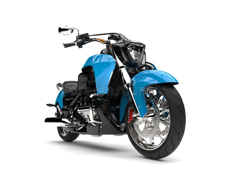 Leistungsfähiges modernes blaues Zerhackermotorrad - Nahaufnahmeschuß lizenzfreie abbildung