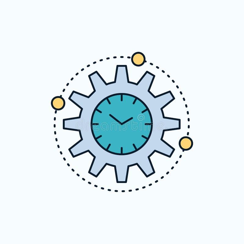 Leistungsfähigkeit, Management, verarbeitend, Produktivität, Projekt flache Ikone gr?nes und gelbes Zeichen und Symbole f?r Websi stock abbildung