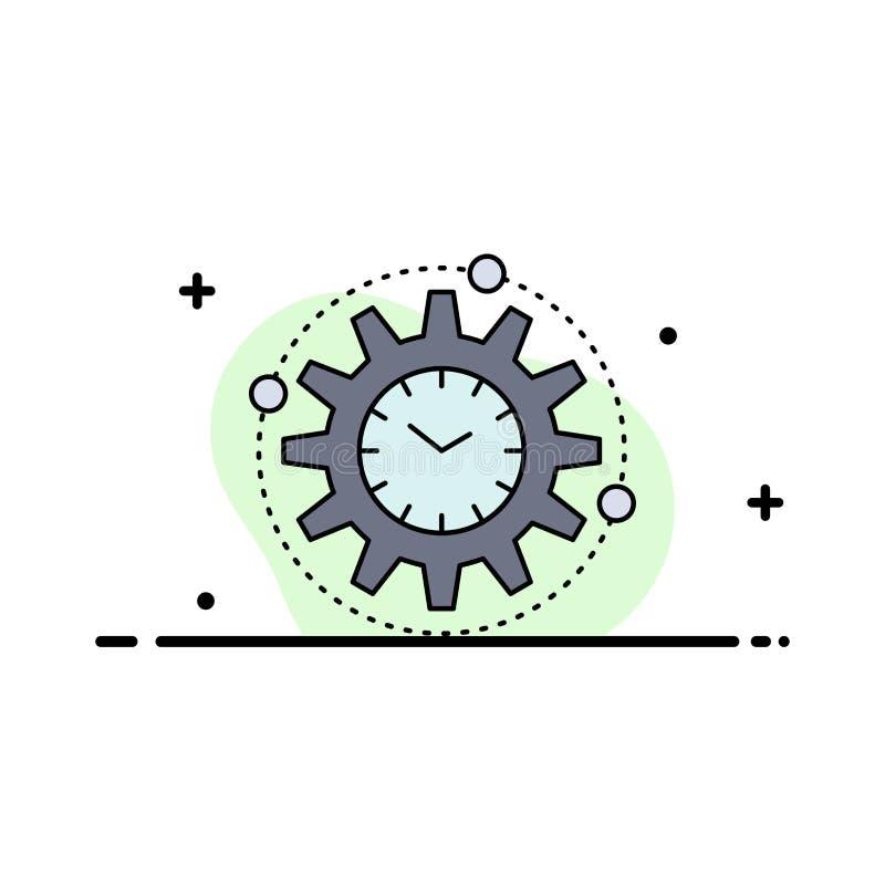 Leistungsfähigkeit, Management, verarbeitend, Produktivität, Projekt flacher Farbikonen-Vektor lizenzfreie abbildung