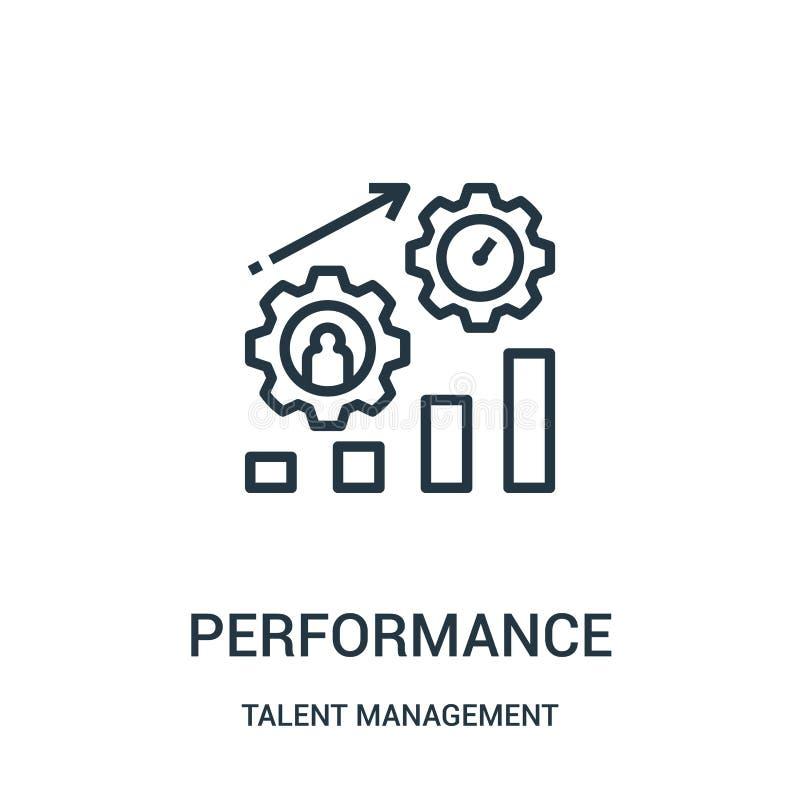 Leistungsikonenvektor von der Talentmanagementsammlung Dünne Linie Leistungsentwurfsikonen-Vektorillustration lizenzfreie abbildung