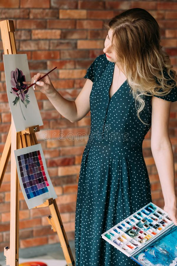 Leisure art talent expression girl drawing picture. Art painting hobby. creative leisure. girl drawing a picture. talent inspiration creation and self expression royalty free stock image