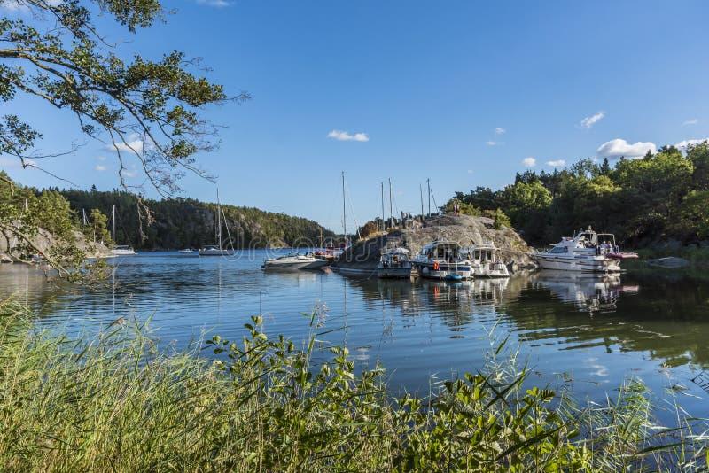 Leisure boats Napoleons bay Stockholm arhipelago stock photos