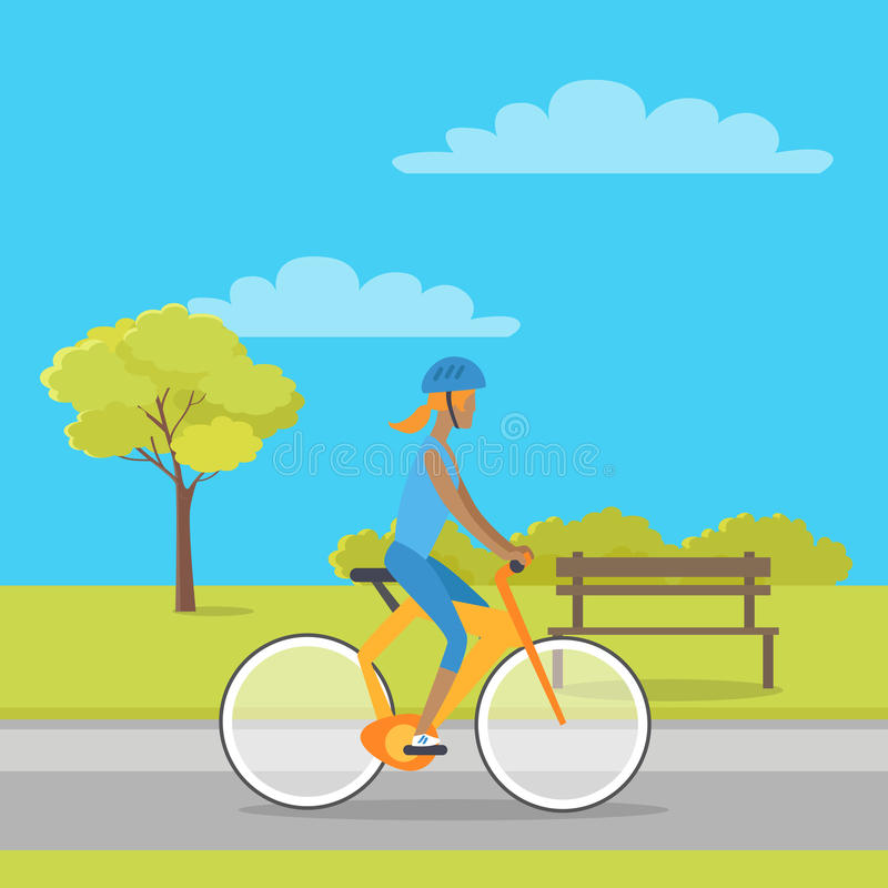 Leisure in City Park Flat Vector Illustration. Leisure in city park concept. Woman in sport clothing and helmet riding bicycle in public square flat vector vector illustration