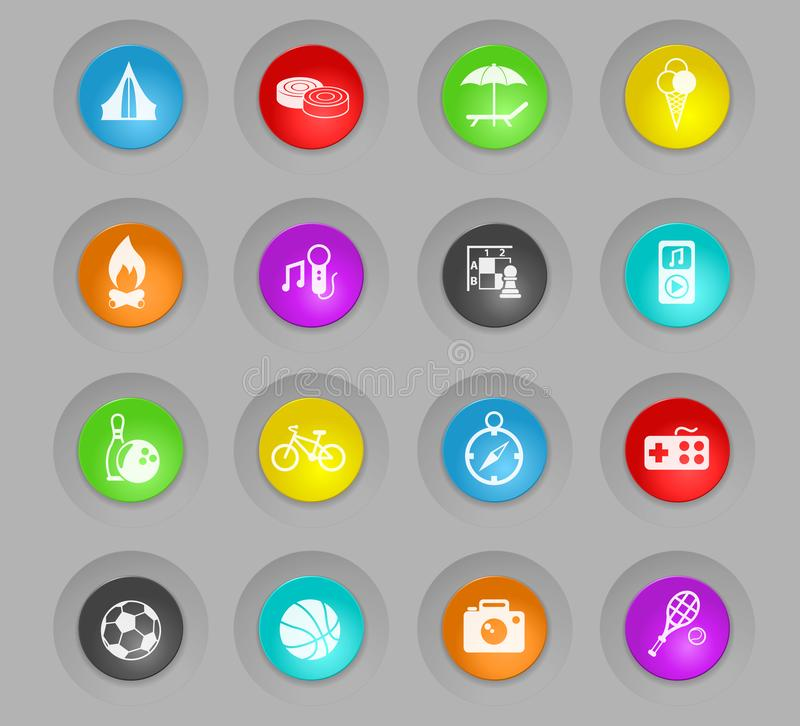 Leisure colored plastic round buttons icon set vector illustration