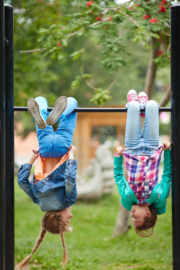 Leisure on facilities. Happy girls spending leisure on recreational facilities royalty free stock image